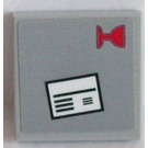 LEGO Medium Stone Gray Tile 2 x 2 with White Envelope and Red Glass Sticker with Groove