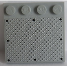 LEGO Gris Pierre Moyen Tile 4 x 4 with Studs on Edge with 8 Black Rivets on Large Silver Tread Plate Sticker
