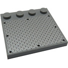 LEGO Medium Stone Gray Tile 4 x 4 with Studs on Edge with 8 Black Rivets on Large Silver Tread Plate Sticker