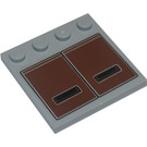 LEGO Medium Stone Gray Tile 4 x 4 with Studs on Edge with Sticker Set 7753