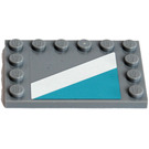 LEGO Medium Stone Gray Tile 4 x 6 with Edge Studs with Sticker from Set 10219
