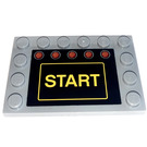 LEGO Medium Stone Gray Tile 4 x 6 with Edge Studs with Yellow START and 5 red Trafficlights Sticker