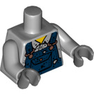 LEGO Medium Stone Gray Welder Torso with Blue Overalls (88585)
