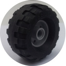 LEGO Medium Stone Gray Wheel Rim Ø18 x 14 with Pin Hole with Tire Balloon Wide Ø37 x 18