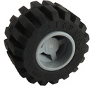 LEGO Medium Stone Gray Wheel Rim Wide Ø11 x 12 with Notched Hole with Tire 21mm D. x 12mm - Offset Tread Small Wide with Bevelled Tread Edge