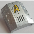 LEGO Metallic Silver Slope 1 x 2 x 2 Curved with Dimples with Agents Logo and Vents Sticker