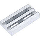 LEGO Metallic Silver Tile 1 x 2 Grille (with Bottom Groove) (15561 / 51815)
