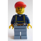 LEGO Miner wearing blue shirt and sand blue parts with red cap Minifigure
