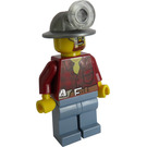 LEGO Miner with Mining Hat, Goggles, Beard, Dark Red Shirt, Orange Tie and Sand Blue Pants Minifigure