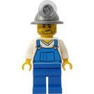 LEGO Miner with Mining Hat, Smirk, Stubble, White Shirt and Blue Overalls Minifigure
