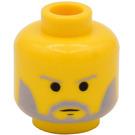 LEGO Minifig Head with Grey Beard and Eyebrows