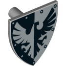 LEGO Minifig Shield Triangular with Black and Silver Falcon Decoration (3846 / 73998)