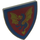 LEGO Minifig Shield Triangular with Blue and Yellow Dragon on Red (3846)