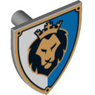 LEGO Minifig Shield Triangular with Lion Head on White and Blue Background Decoration (3846 / 14464)