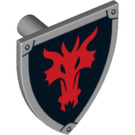 LEGO Minifig Shield Triangular with Red Dragon Head on Black Background Decoration (14463)