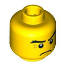 LEGO Minifigure Head Frowning with Crow's Feet Lines by Eyes (Safety Stud) (3626 / 93390)
