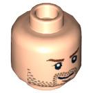 LEGO Minifigure Head avec Brown Stubble et Eyebrows (Goujon de sécurité) (3626 / 62279)
