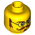 LEGO Minifigure Head with Round Glasses and Moustache (Safety Stud) (94096 / 96823)