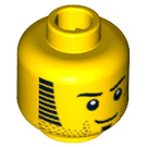 LEGO Minifigure Head with Sideburns and Red Scar (Safety Stud) (94061 / 95426)