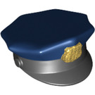 LEGO Minifigure Police Hat with Dark Blue Top and Gold Badge (11474)