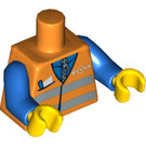 LEGO Minifigure Torso Airport Worker's Safety Vest with Transport Logo over Zippered Blue Shirt (76382 / 88585)