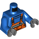 LEGO Minifigure Torso with Orange Bib Overalls with Pocket and Black Clips over Ribbed-neck Shirt (76382)