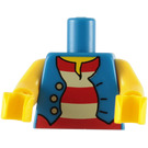 LEGO Minifigure Torso with Unbuttoned Vest over Red and White Striped Shirt (76382 / 88585)