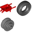 LEGO Minifigure Wheelbarrow with Dark Stone Wheel and Black Tire