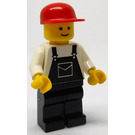 LEGO Motor Mechanic - Overalls Black with Pocket, Black Legs, Red Cap Minifigure