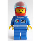 LEGO Octan Worker Blue Torso and Legs Red Helmet Minifigure