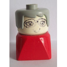 LEGO Older Lady with Gray Hair wearing Glasses on Red Base Minifigure