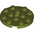 LEGO Olive Green Plate 4 x 4 Round with Hole and Snapstud (60474)