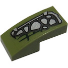 LEGO Olive Green Slope 1 x 2 Curved with Silver Scales (Left) Sticker