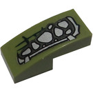 LEGO Olive Green Slope 1 x 2 Curved with Silver Scales (Right) Sticker