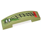 LEGO Olive Green Slope 1 x 4 Curved Double with Vines and Music Scales (Left) Sticker