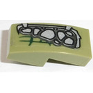 LEGO Olive Green Slope Curved 1 x 2 x 0.66 with Silver Scales (Left) Sticker