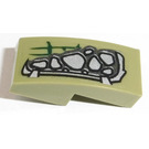 LEGO Olive Green Slope Curved 1 x 2 x 0.66 with Silver Scales (Right) Sticker