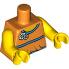 LEGO Orange Blouse Torso with Aqua Trim and White Flowers with Halter Back (76382 / 88585)