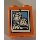 LEGO Orange Brick 1 x 2 x 2 with Family portrait Sticker