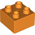 LEGO Orange Duplo Brick 2 x 2 (3437)