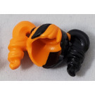 LEGO Orange Minifigure Hair with Side Pigtails and Black Haircolor on Left Side Decoration