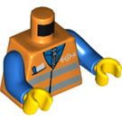 LEGO Orange Minifigure Torso with Safety Vest and Train Logo (76382 / 88585)