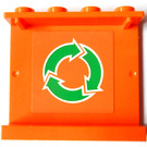 LEGO Orange Panel 1 x 4 x 3 with White and Green Recycle Sticker from Set 7991 without Side Supports, Hollow Studs