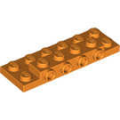 LEGO Orange Plate 2 x 6 x 0.667 with Four Studs On Side and Four Raised (87609)