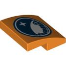 LEGO Orange Plate with bow 2 x 2 x 2/3 with Arctic Explorer Logo (17194)