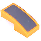 LEGO Orange Slope 1 x 2 Curved with Gray Sticker