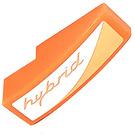 """LEGO Orange Slope 1 x 3 Curved with Orange """"hybrid"""" Logo Left Side Sticker"""