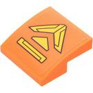 LEGO Orange Slope Curved 2 x 2 x 0.66 with Panel Sticker