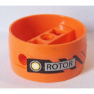 LEGO Orange Technic Cylinder with Center Bar with 'ROTOR' Sticker