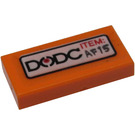 LEGO Orange Tile 1 x 2 with 'DODC' and 'ITEM: AF15' Sticker with Groove